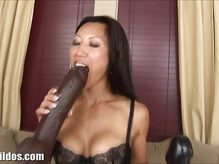 Free big clit sex busty asian rides a massive brown brutal dildo