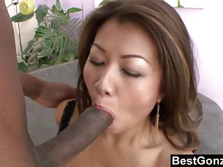 Asian whore enjoys a thick black dick asian