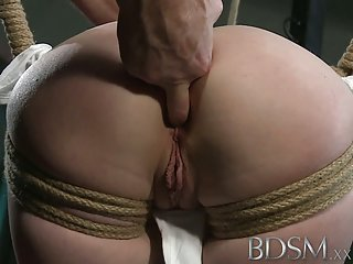Bdsm xxx tattooed slaves are suspended and made to cum dominant domination