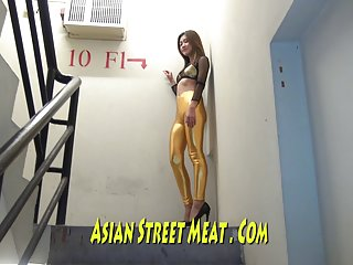 Super gold thai film star in fire escape asian woman bangkok