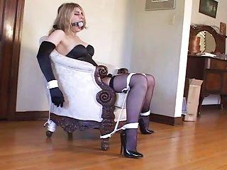 Bondage with sexy stockings & high heels (black 6inch pumps) bondage