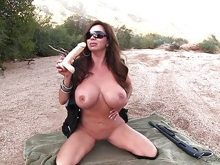 Friends tits outdoors with my shotgun naked