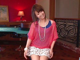 Maika gives a japan girl blowjob and fucks two guys