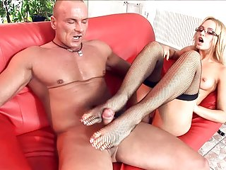 Blonde fucking in black stockings and stilettos blonde