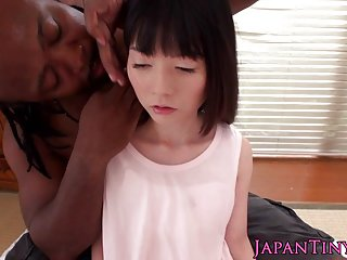 Tiny japanese pounded and oral by black dude